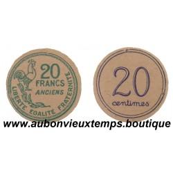 MONNAIE CARTON 20 FRANCS ANCIENS ET 20 CENTIMES