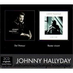 COFFRET 2 CD ORIGINAUX EDITION LIMITEE - WARNER - DE L'AMOUR et RESTER VIVANT - JOHNNY HALLYDAY