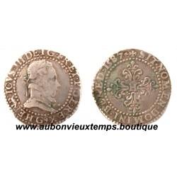 1/2 FRANC AU COL PLAT HENRI  III  1587 G  POITIERS