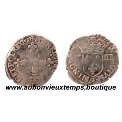 1/8 ECU CROIX DE FACE  HENRI  III  1581 T  NANTES