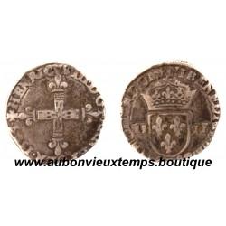 1/4 ECU CROIX DE FACE  HENRI  III  1584 I  LIMOGES
