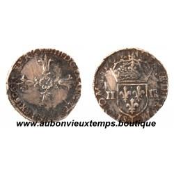 1/4 ECU CROIX DE FACE  HENRI  IV 1606 T  NANTES