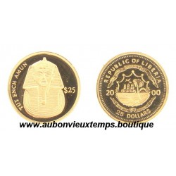 25 DOLLARS OR TUT ENCH AMUN  - LIBERIA 2000