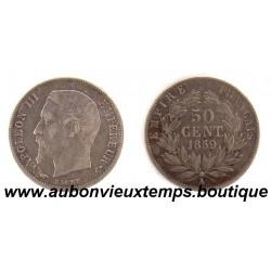 50 CENTIMES 1859 A   NAPOLEON III - TETE NUE  ARGENT