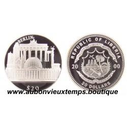 20 DOLLARS ARGENT  BERLIN  - LIBERIA 2000