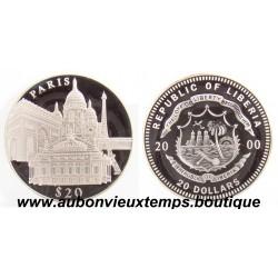 20 DOLLARS ARGENT  PARIS  - LIBERIA 2000