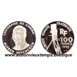 100 FRANCS 1995  - ALFRED HITCHCOCK - CENTENAIRE du CINEMA -  ESSAI   ARGENT   BE