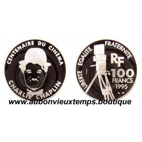 100 FRANCS 1995  - CHARLIE CHAPLIN - CENTENAIRE du CINEMA -  ESSAI   ARGENT   BE