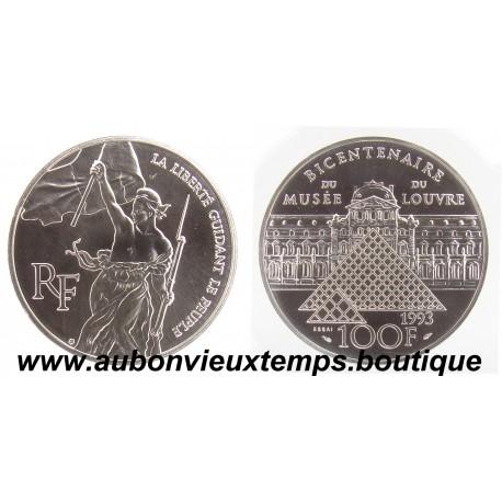 100 FRANCS 1993  - LIBERTE - BICENTENAIRE du MUSEE du LOUVRE -   ARGENT   BE