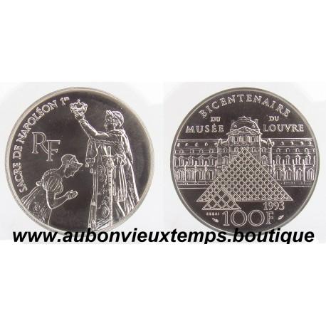 100 FRANCS 1993  - SACRE - BICENTENAIRE du MUSEE du LOUVRE -  ESSAI   ARGENT   BE