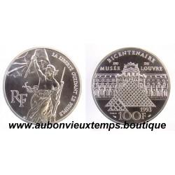 100 FRANCS 1993  - LIBERTE - BICENTENAIRE du MUSEE du LOUVRE -  ESSAI   ARGENT   BE