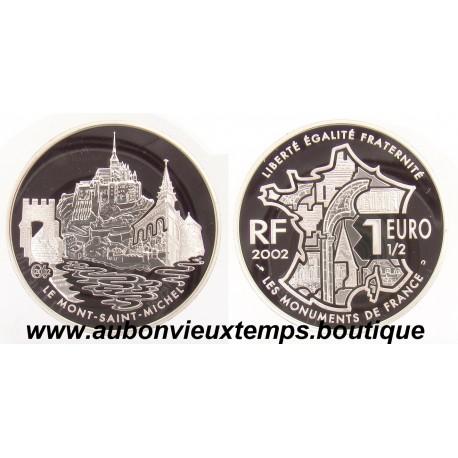 1 1/2  EURO  2002  LES MONUMENTS DE FRANCE - LE MONT SAINT MICHEL   ARGENT   BE