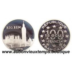 100 FRANCS - 15 ECUS  1995  MONUMENTS DE L'EUROPE - BIG BEN  ARGENT   BE
