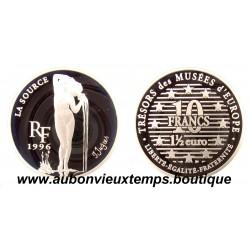 10 FRANCS - 1 1/2 EURO  1996  LA SOURCE - TRESORS DES MUSEES D'EUROPE  ARGENT   BE