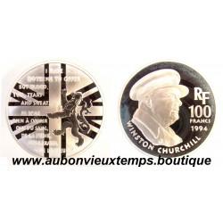 100 FRANCS - 1994  WINSTON CHURCHILL - CINQUANTENAIRE DU DEBARQUEMENT ARGENT   BE
