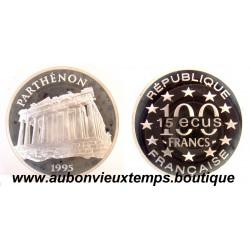 100 FRANCS - 15 ECUS  1995  MONUMENTS DE L'EUROPE - PARTHENON ARGENT   BE