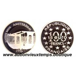 100 FRANCS - 15 ECUS  1996  MONUMENTS DE L'EUROPE - MAGERE BRUG  ARGENT   BE