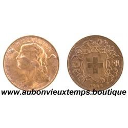 20 FRANCS OR SUISSE 1935 B